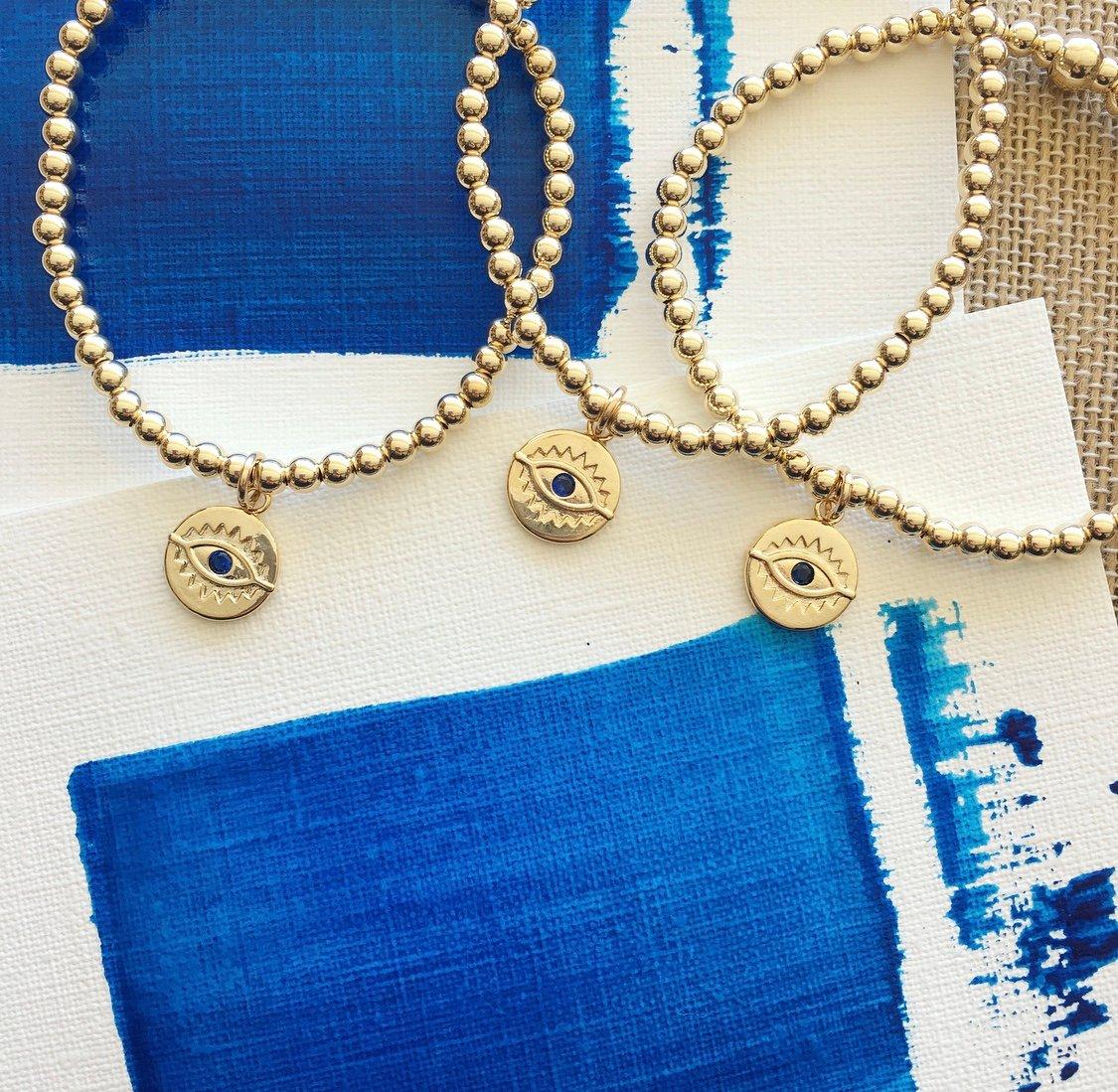 TenThings. Gold Beaded.  EVIL EYE. Charm. Bracelet. B-4EE