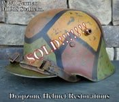 Image of Replica WWI German M-1918 Helmet & Leather Liner. Camouflage Pattern.