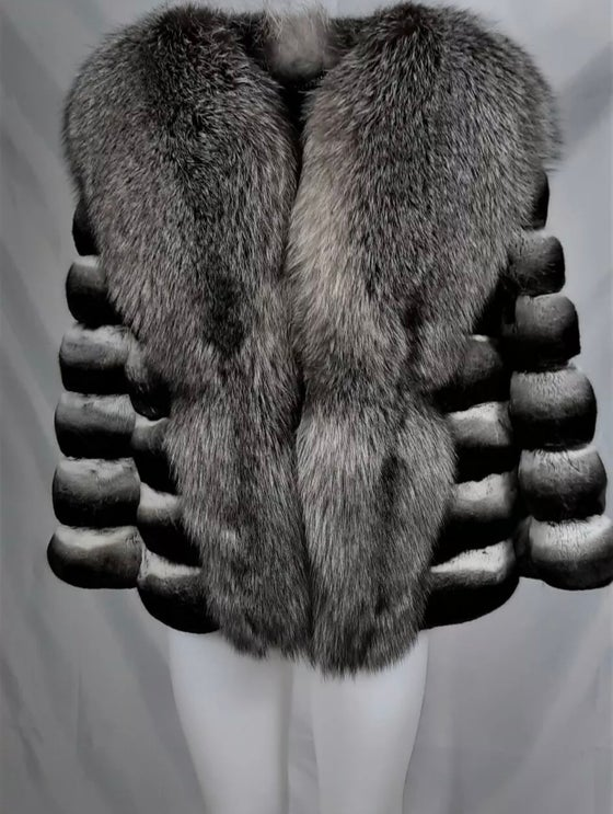 Image of CHINCHILLA X SILVER FOX COAT