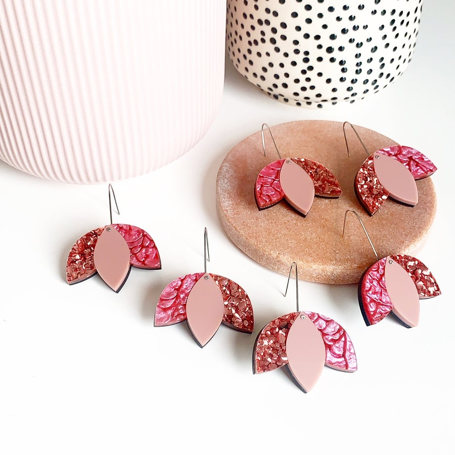 Image of Tulip Drop Dangles: Pinks