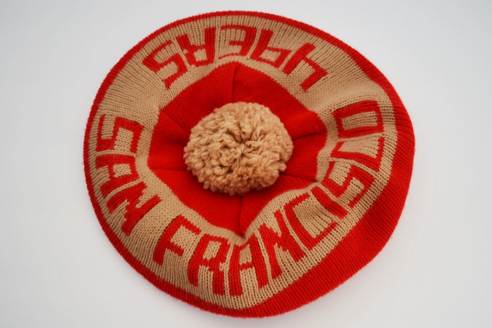 Image of Vintage 1980's San Francisco 49ers Knit Golf Hat With Pom