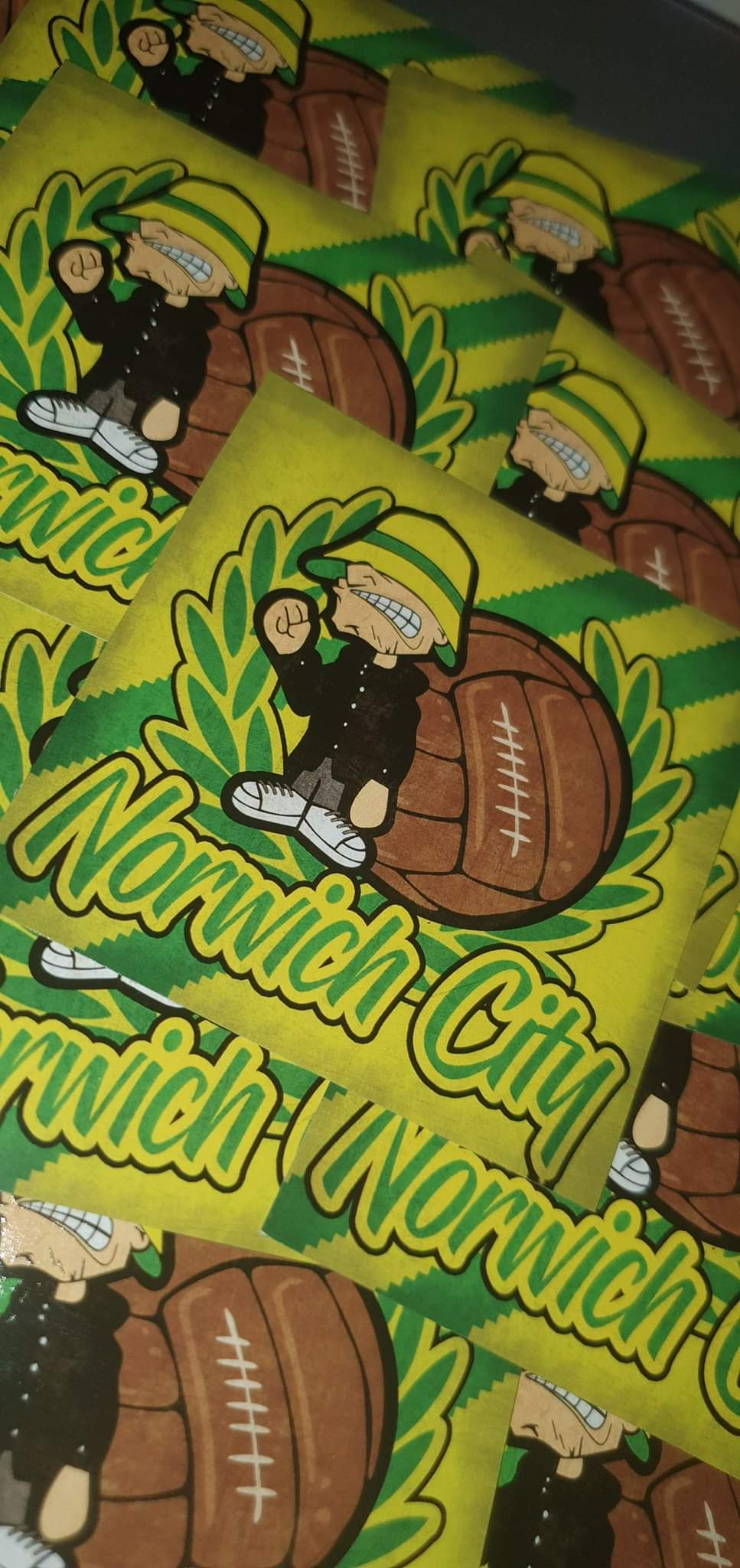 Pack of 25 7x7cm Norwich City Football/ultras stickers.