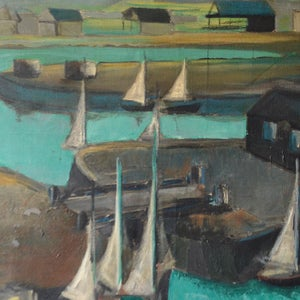 Image of Mid century, French Painting, 'On the Quayside.'