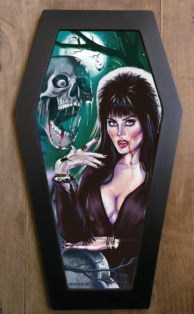 Image of Elvira Mistress of the Dark Coffin Framed Art