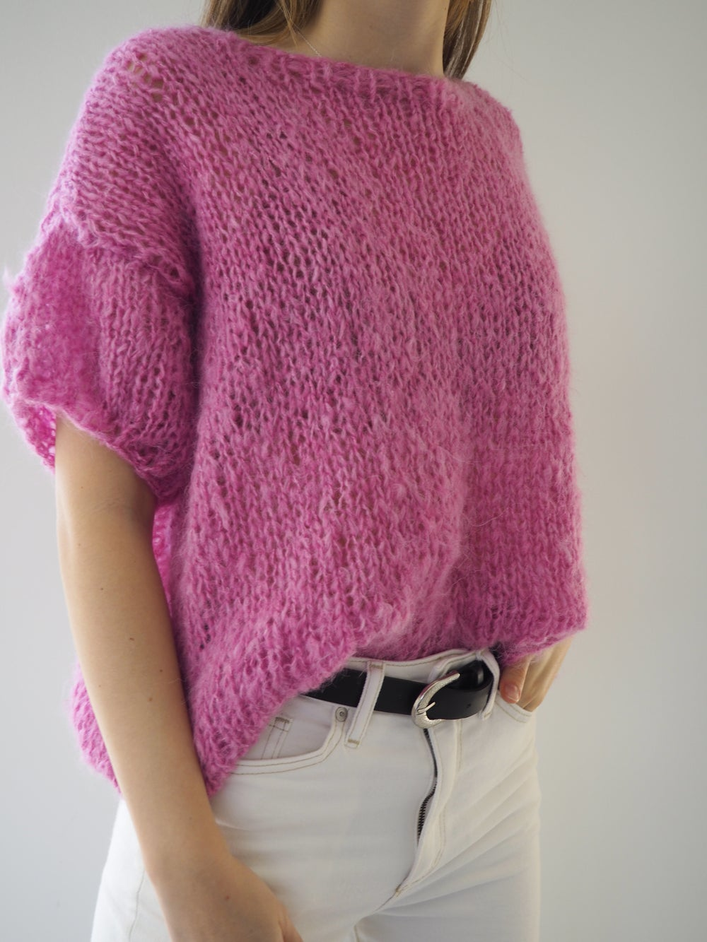 Image of The Clara Sweater - Candy Pink short sleeves
