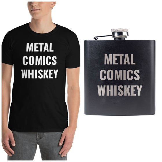 Image of Metal comics whiskey shirt and flask bundle