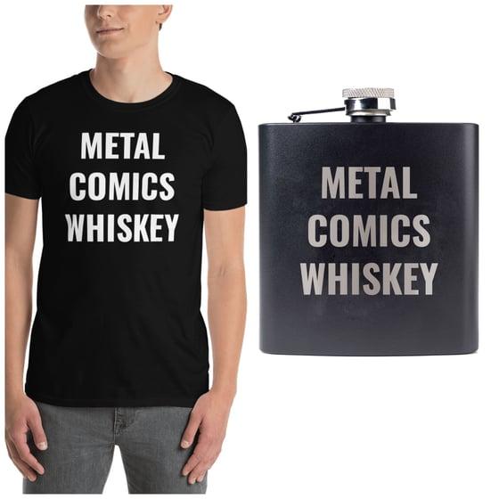 Image of Metal comics whiskey shirt and flask bundle