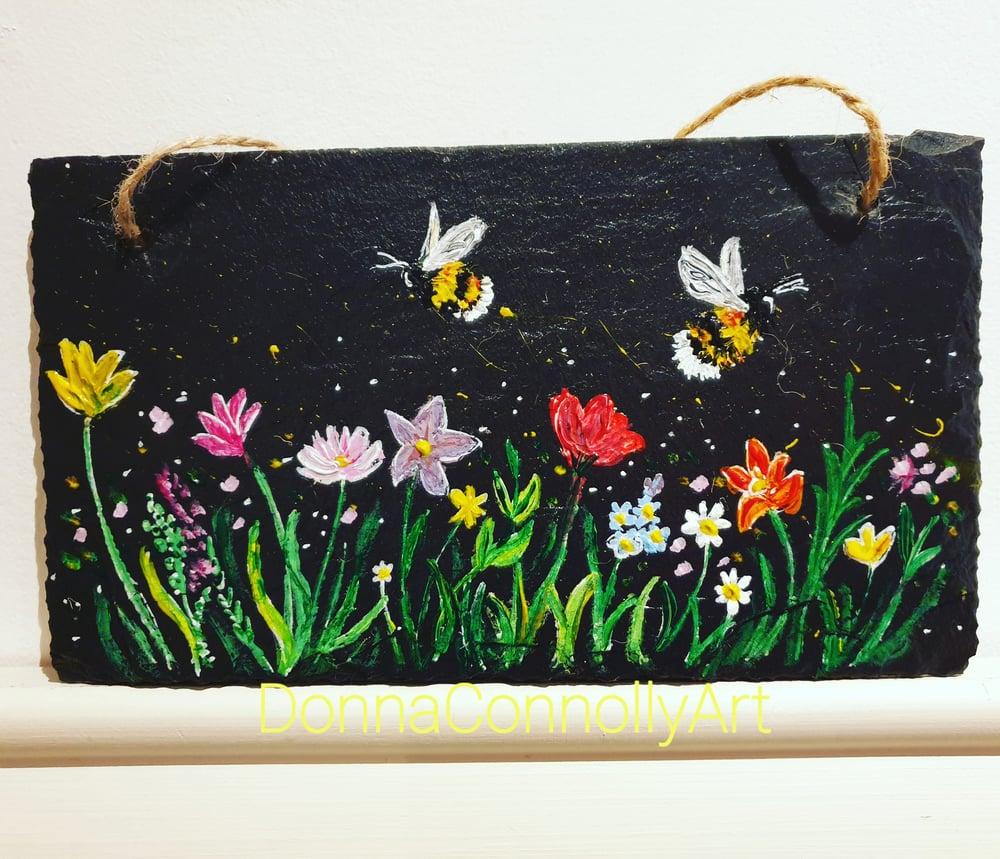 Image of Handpainted slate wall art