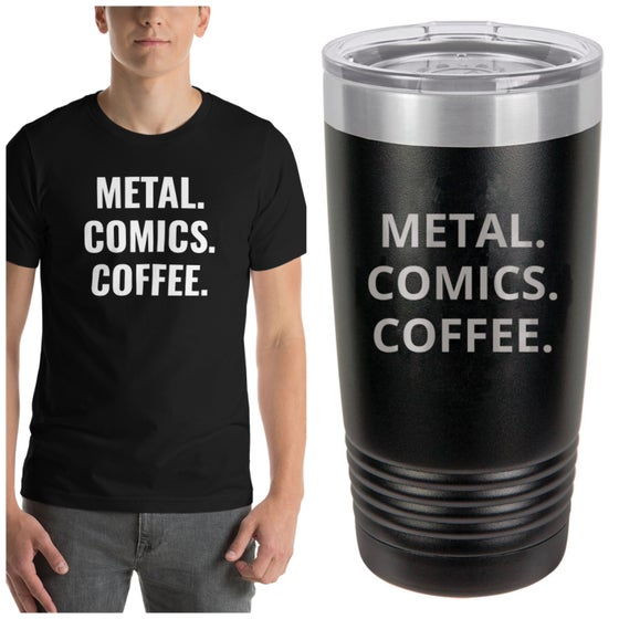 Image of Metal comics coffee shirt and tumbler bundle