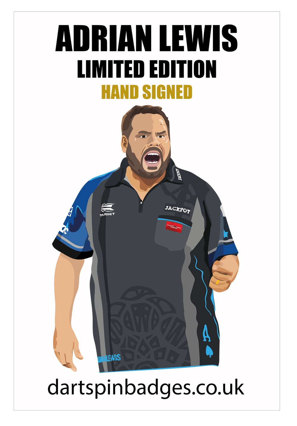 ADRIAN LEWIS LIMITED EDITION PIN BADGE HAND SIGNED