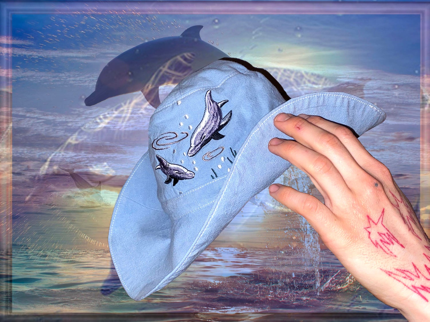 Upcycled Dolphins hat