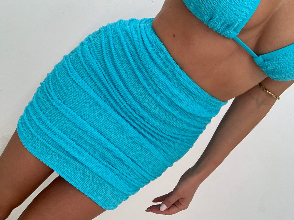 Image of Neon Blue Get Ruched Mini Skirt OR Co-Ord