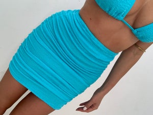Image of Neon Blue Get Ruched Mini Skirt