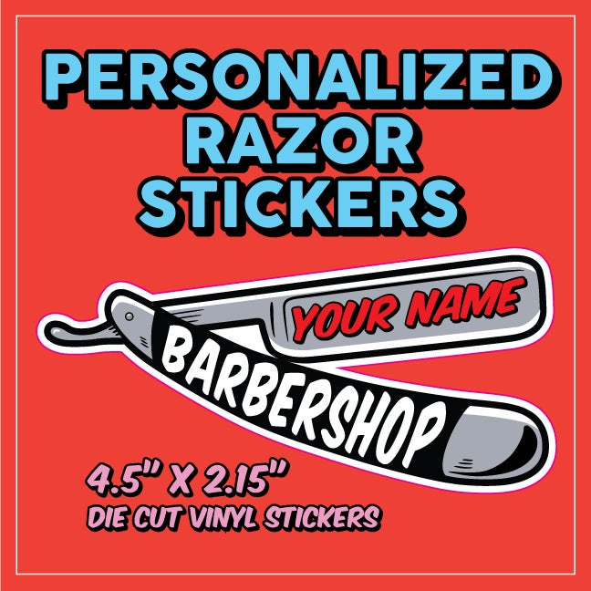 Image of Personalized Razor Stickers w/ Your shop name