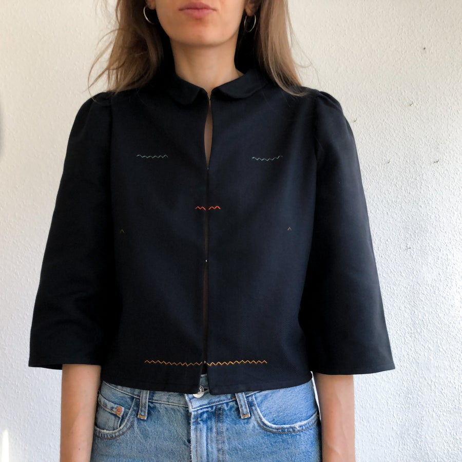 Image of Arinna shirt in organic black wave twill - 100%organic cotton, handmade in Berlin
