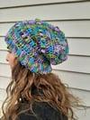 Crochet Acrylic yarn Slouch Hat Bright Colors