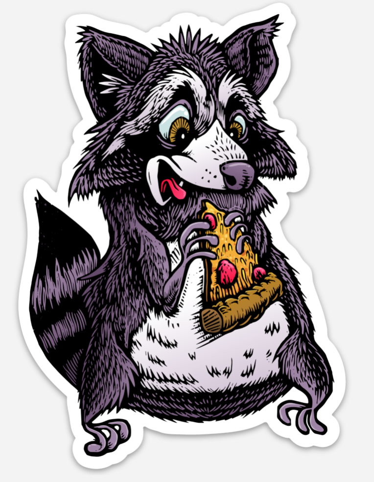 Raccoon Eating a Pizza Sticker