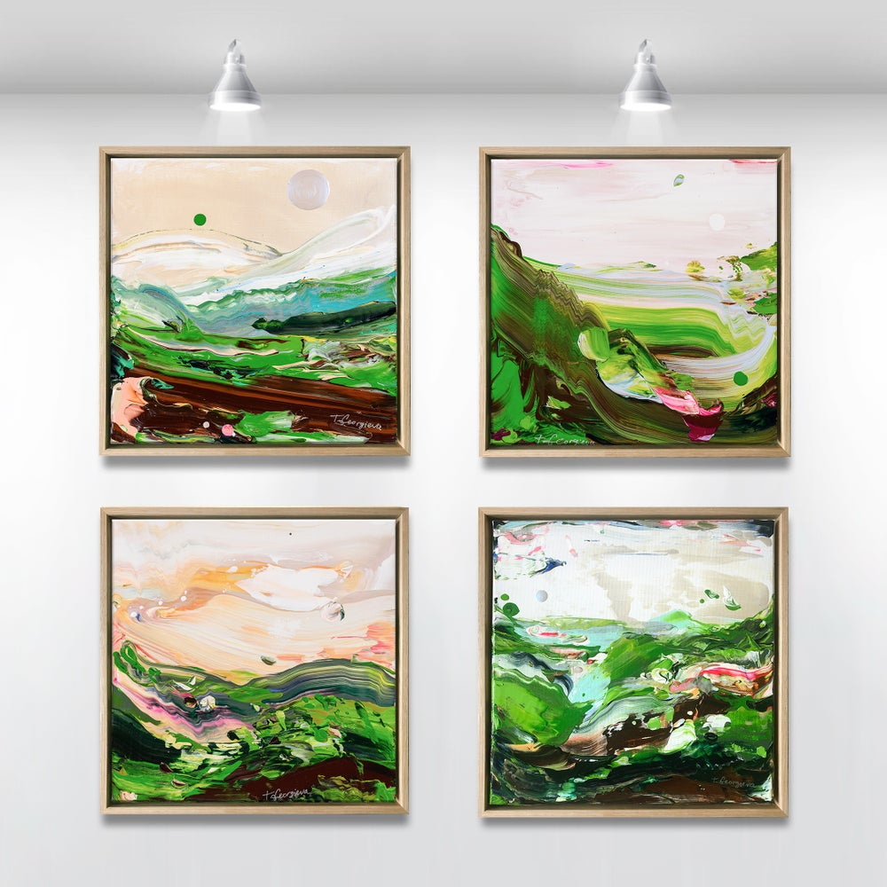 Image of Country no.38 - 4 pieces - 30x30cm each, FRAMED
