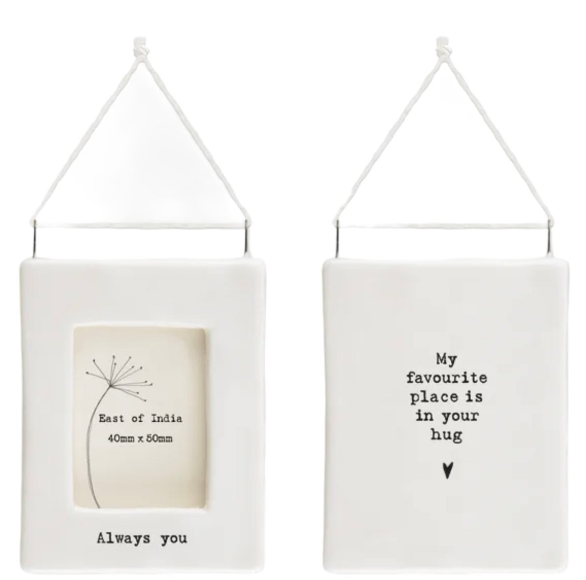 Image of East of India Mini Porcelain hanging frame - Always You