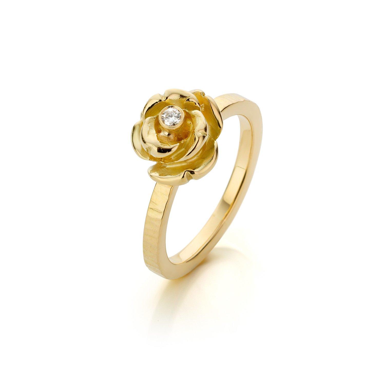 Image of verlovingsring - geboortering goud diamant - engagementsring - birthring gold diamond