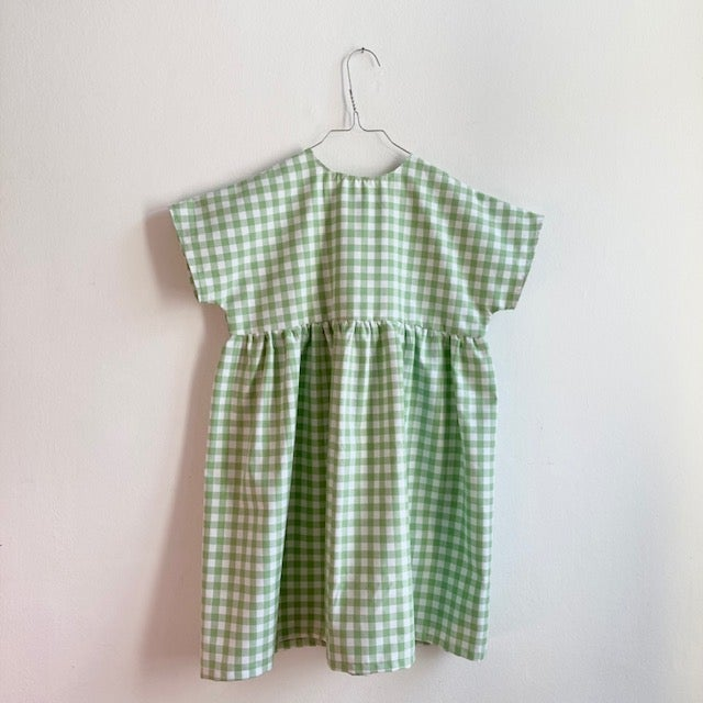 Garden Dress - green check