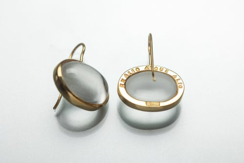 """Image of """"Things for ever claim.."""" gold plated silver earrings with rock crystals · EX ALIO ATQUE ALIO ·"""