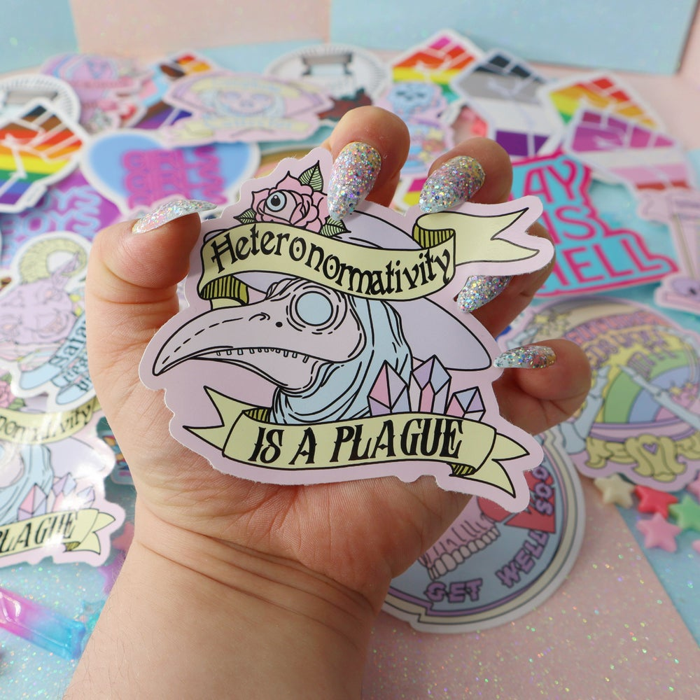 Image of Heteronormativity Is A Plague Large Vinyl Sticker