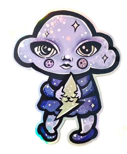 Image of Clara Cloud and Bolty Cat Holographic Sticker