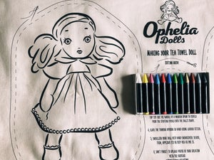 Image of Tea Towel Doll with 12 fabric crayons