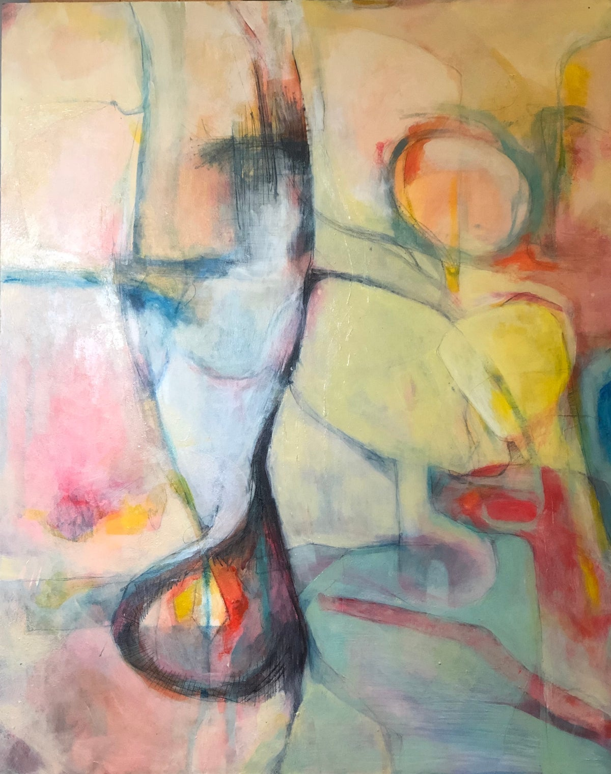 Image of Border Wall- original abstract painting on board
