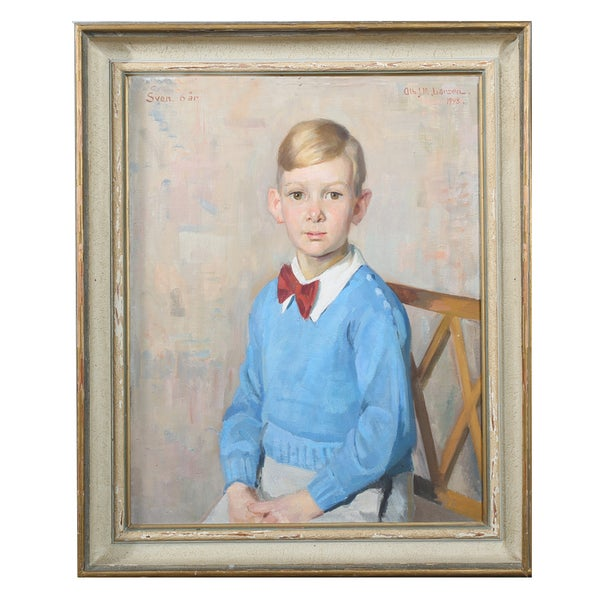 Image of 1948, Swedish, Society Portrait Painting of a Boy.