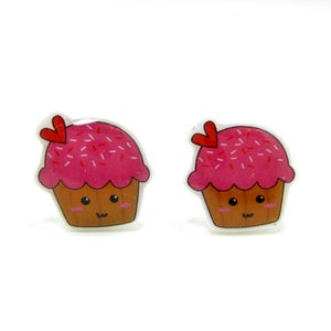 Image of Cupcake Earrings - Sterling Silver Posts