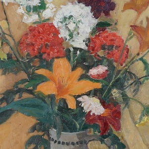 Image of Mid-century, Swedish Still Life Painting, 'Tiger Lilies.'