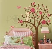 Image of Monkey Sitting on a Flower Tree - 085  Vinyl Sticker Wall Decal for Girl Boy Nursery