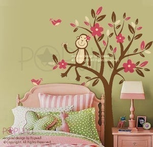 Image of Monkey Sitting on a Flower Tree - 085  Vinyl Sticker Wall Decal for Girl Boy Nursery