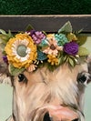 Large Cow with a Felt Flower Crown,  Black Tobacco Lathe Frame
