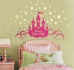 Image of Kids Vinyl Wall Sticker Decal - Princess Castle with Name - 063
