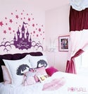Kids Vinyl Wall Sticker Decal - Princess Castle with Name - 063