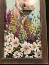 Large Cow with a Felt Flower Crown, Brown Tobacco Lathe Frame
