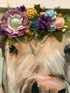 Large Cow with a Felt Flower Crown, Whitewashed Tobacco Lathe Frame