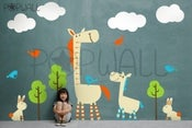 Image of Kids Vinyl Wall Decal Sticker Art - Tall Horse with Animal Grow Chart - 038