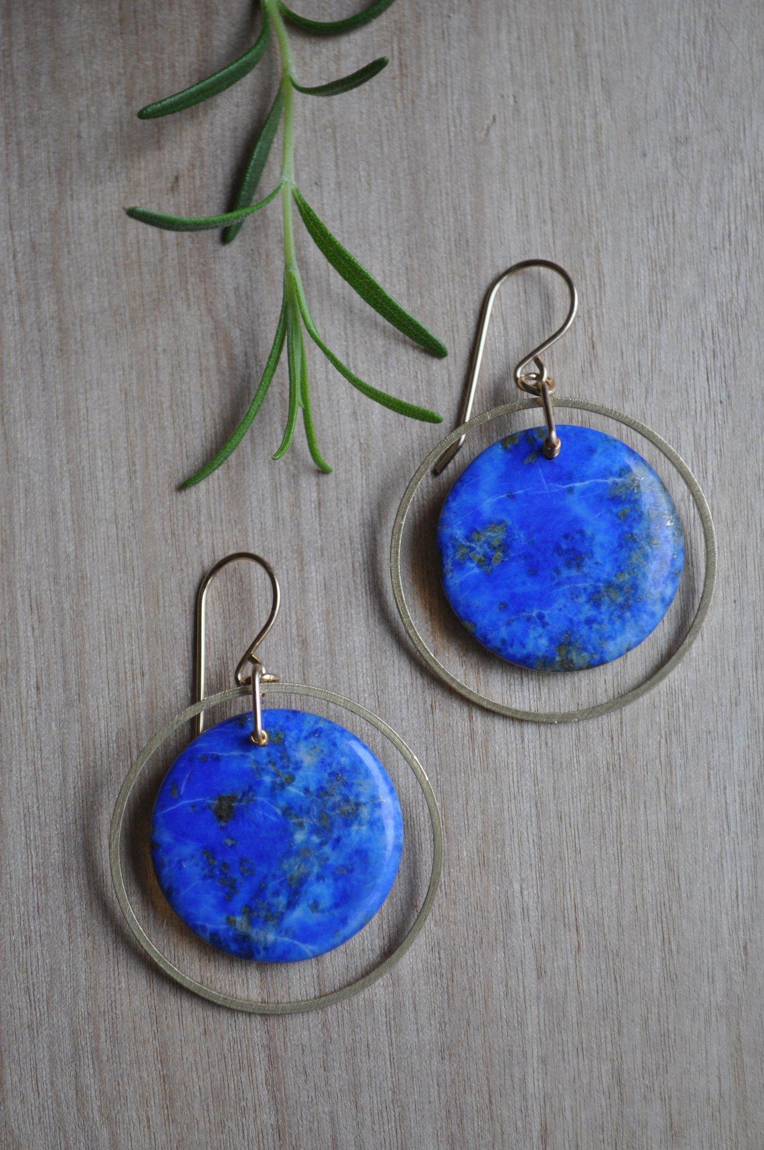 Image of One of a Kind Lapis Lazuli Hoop Earrings