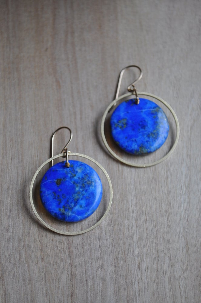 Image of One of a Kind Lapis Lazuli Hoop Earrings