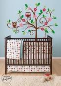 Swirly Tree with Owls (LARGE) - dd1034 Vinyl Wall Sticker Decal Baby Nursery