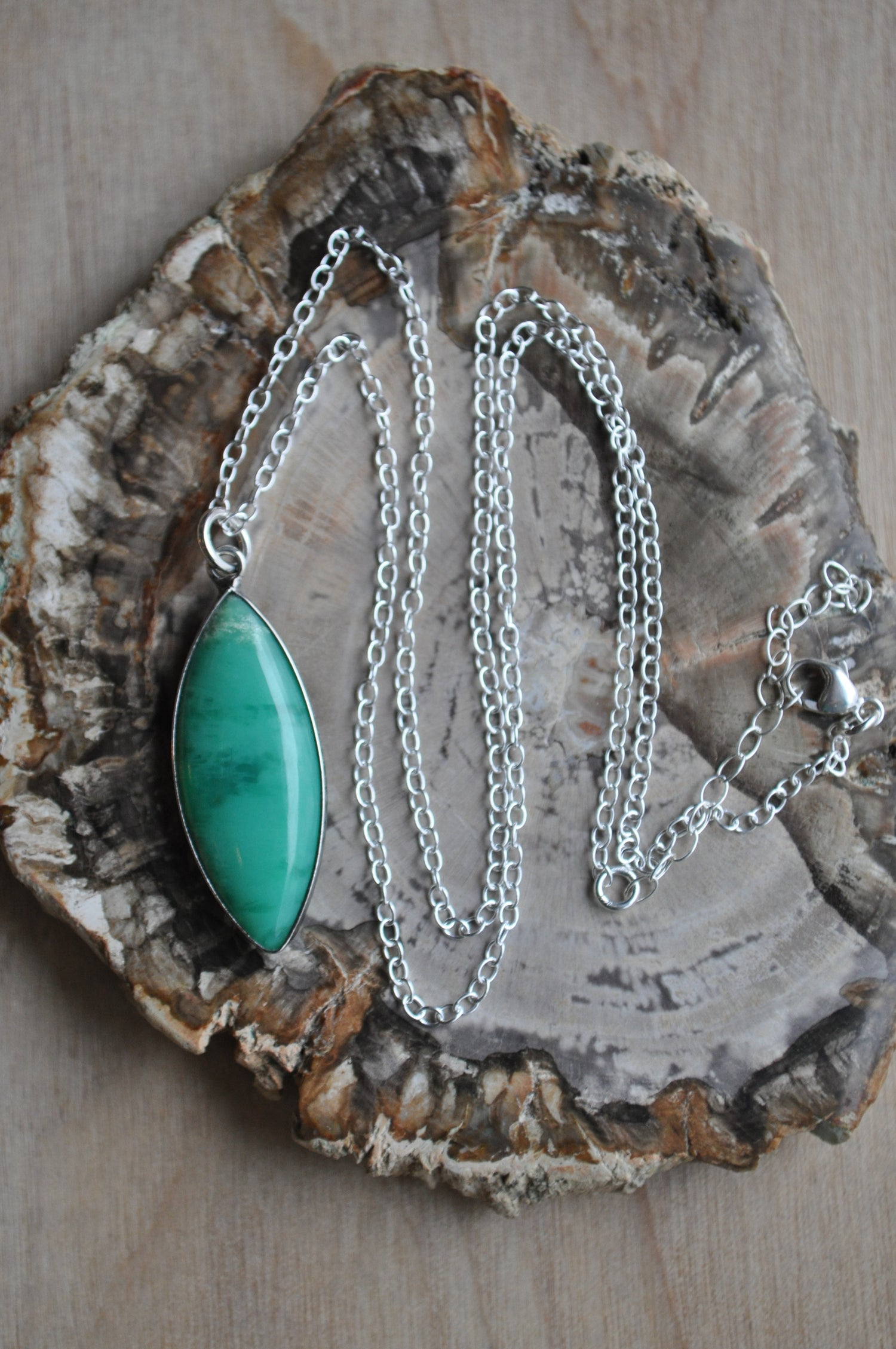 Image of Chrysoprase Necklace on Sterling Silver