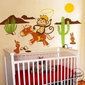 Image of Kids Nursery Vinyl wall sticker decal Art - Cowboy Monkey in the Desert with Rabbit - dd1044
