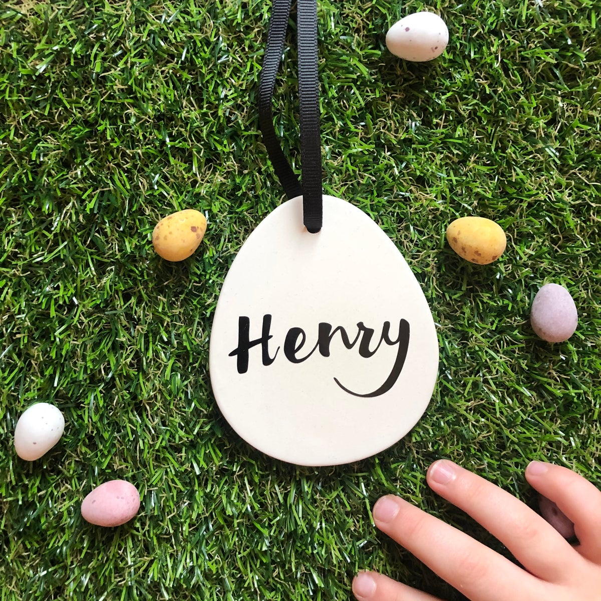 Image of Personalised Ceramic Easter Egg Decoration
