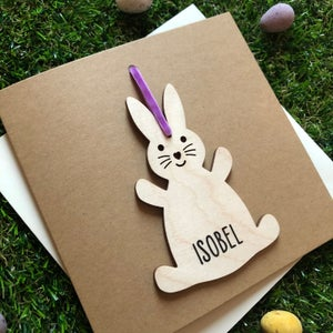 Image of Wooden Personalised Easter Rabbit Card