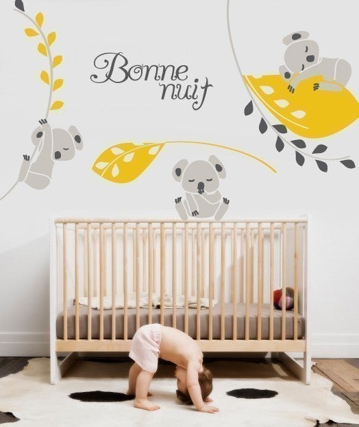 vinyl wall sticker decal art koala nighty night removable wall decals stickers by my. Black Bedroom Furniture Sets. Home Design Ideas