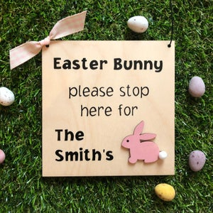 Image of Easter Bunny Stop Here Sign